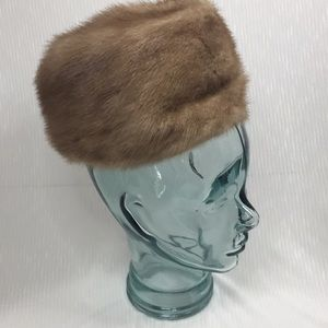 Lovely mink pillbox style hat light excellent